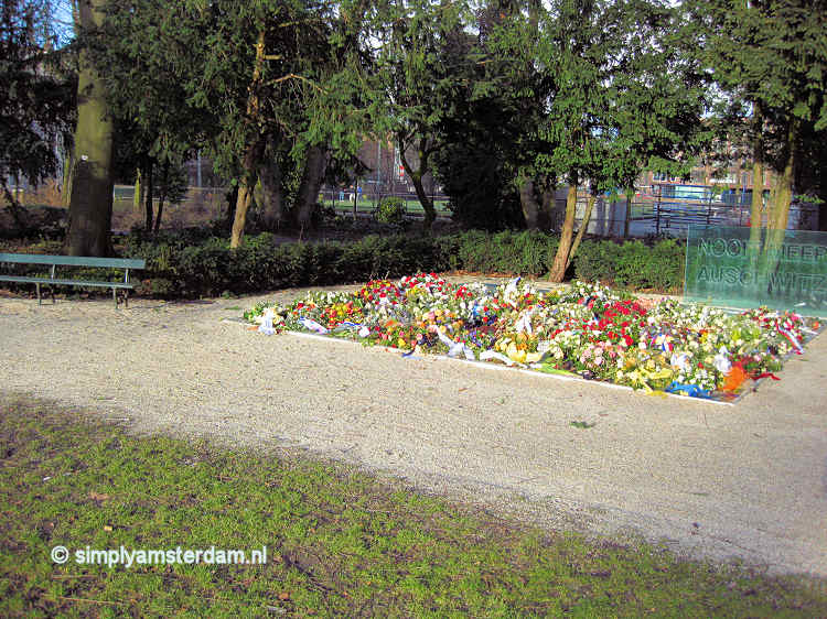 Auschwitz Monument (with flowers of the yearly commemoration)