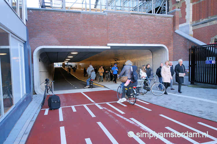 Entrance bicycle tunnel Amsterdam Central Station