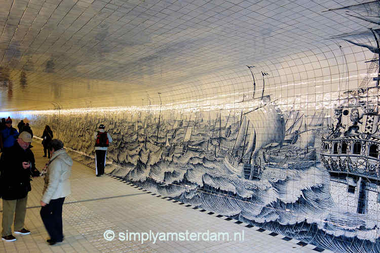 Amsterdam central has new bicycle tunnel with 39 delft blue for Delft tile mural