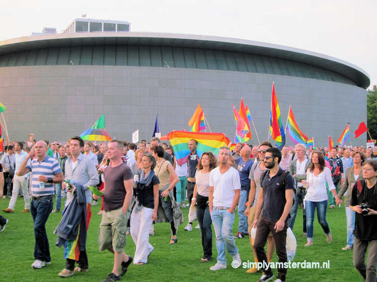 Gay anti-Putin march on Museumplein, August 2013