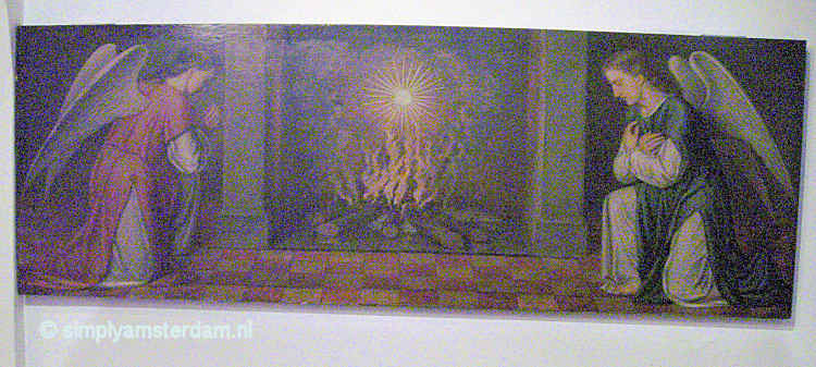 Painting of fire with sacramental bread in Beguinage Chapel