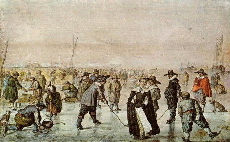 Painting by Avercamp with ice skating scene