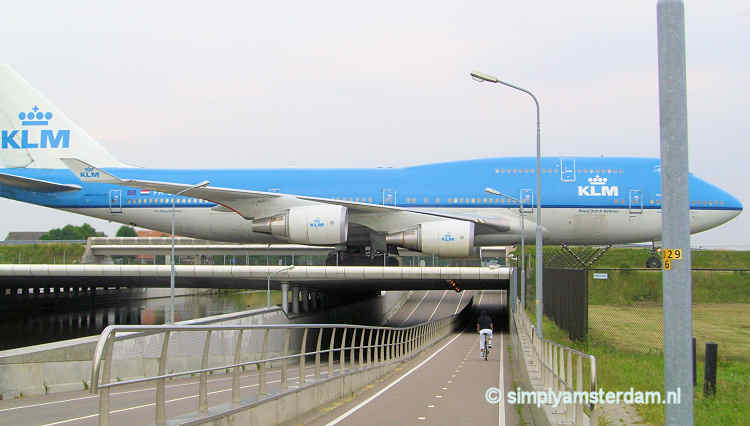 KLM airplane taxiing near Schiphol
