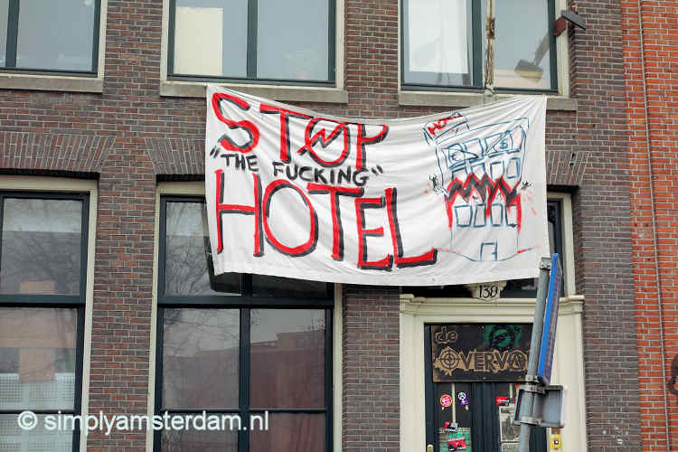 Protest banner against hotels