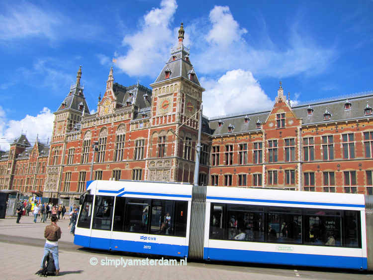 Tram in front of Amsterdam Central Station